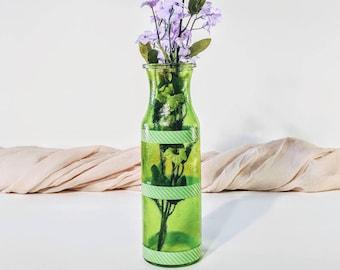 Vintage vase/ Green vase/ Vintage green vase/ Retro vase/ Handmade vase/ Green glass vase/ Striped vase/ Milk bottle vase/ Textured vase