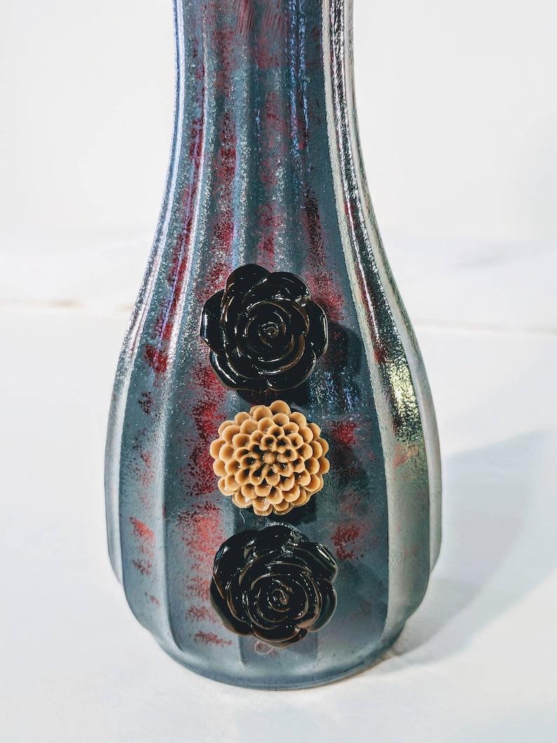 silk hydrangea Faux white hydrangea floral arrangement slate gray vase handmade rustic vase gray and scarlett red vase centerpiece