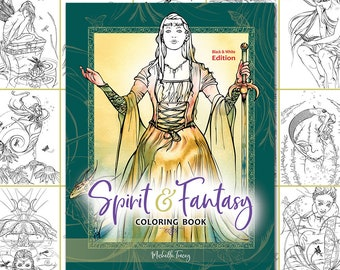 Spirit Fantasy Grayscale Coloring Book Fairy Angels Etsy