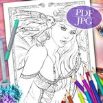 FAIRY COLORING PAGE  'Into The Night' - Fantasy, Fairies, Owl, Feathers, Coloring Pages for Adults, Printable, pdf, jpg