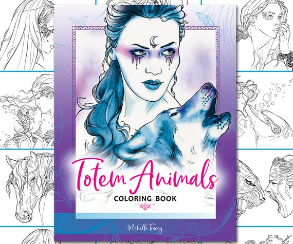 Totem Animals Coloring Book - Wolves, Eagles, Owls, Crows, Butterfly,  Turtles, Fantasy, Coloring Pages, Coloring Books for Adults, pdf