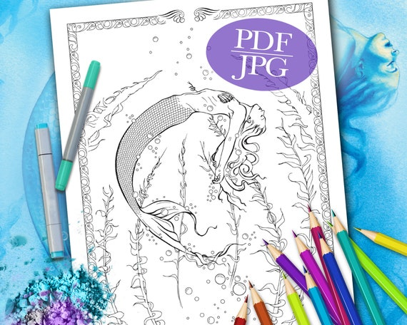 MERMAID COLORING PAGE \'Surrender\' - Fantasy, Mermaids, Coloring Page for  Adults, Coloring Books, Printable, pdf, jpg