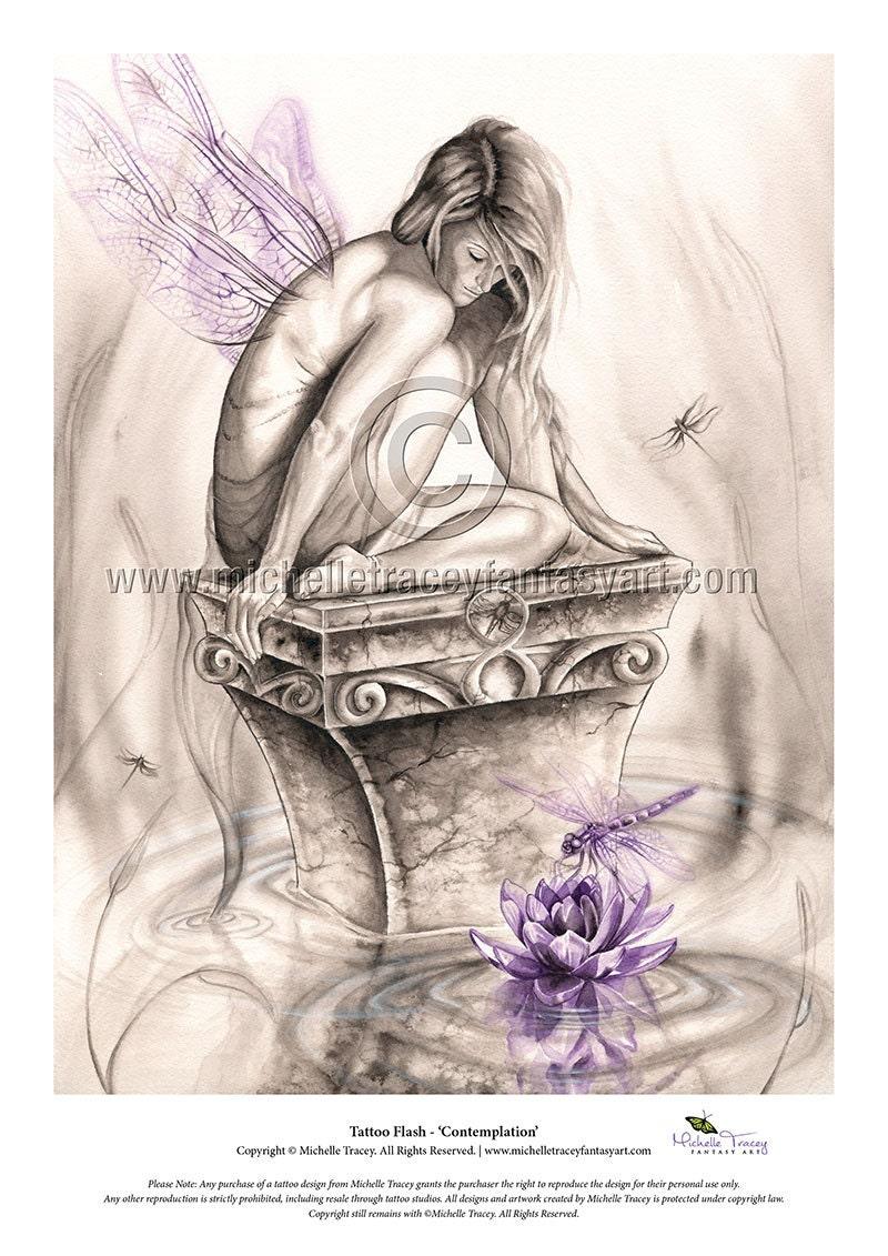 Tattoo flash contemplation fantasy art fairy fairies dragonfly dragonflies lotus wings tattoo design printable 50 izmirmasajfo