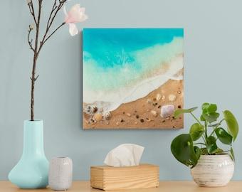 "Ocean Resin Art | ""Sanctum"" | Coastal Wall Decor | Original Resin Beach Painting With Sand And Shells"