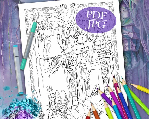 - FANTASY COLORING PAGE 'Call Of The Guardians' Etsy