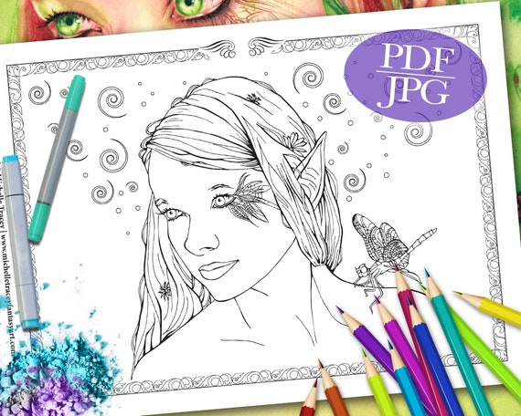 FAIRY COLORING PAGE \'Little Wing\' - Fantasy, Fairies, Dragonfly, Faces,  Coloring Pages for Adults, Coloring Books, Printable, pdf, jpg