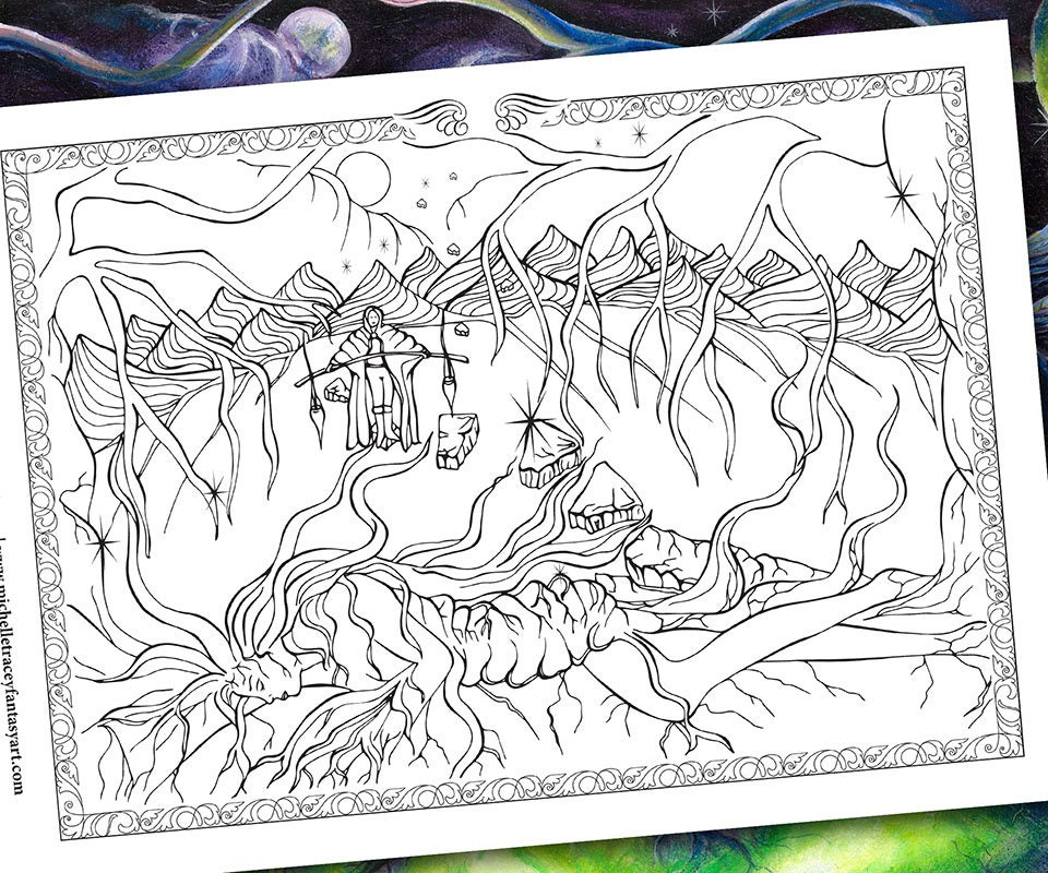 Fantasy Coloring Pages 39 Mother Earth Father Sky 39 Etsy
