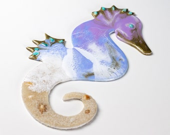 Seahorse Wall Decor | Original Resin Seahorse Wall Art With Turquoise Crystals | For Girls Room | Fantasy Wall Decor