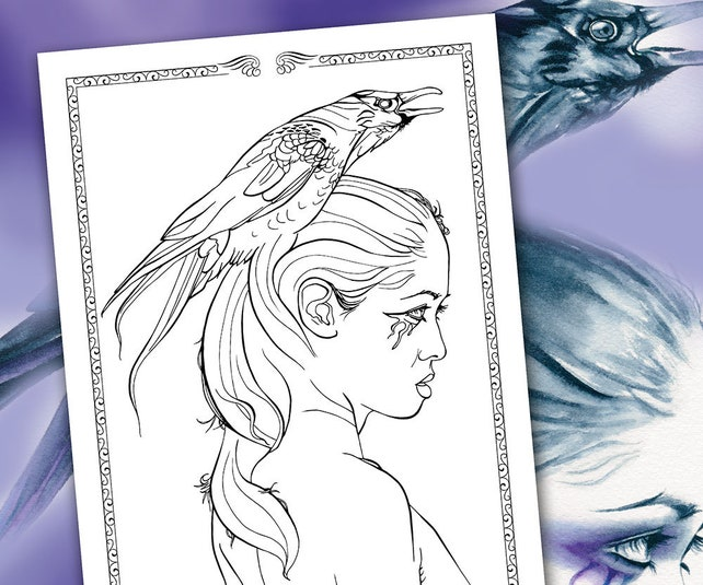 Fantasy Coloring Pages Raven Totem Animals