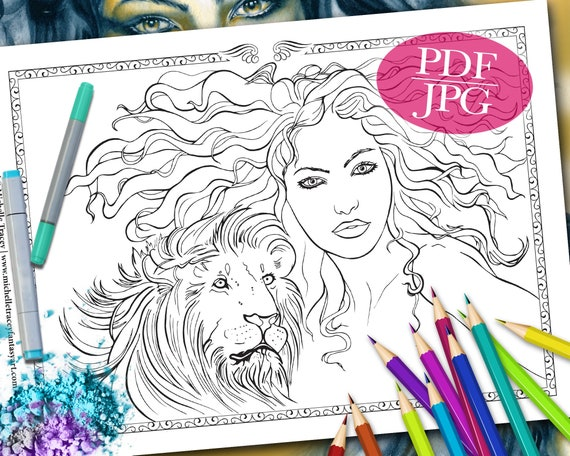 FANTASY COLORING PAGE 'Lion Totem' Totem Animals Etsy