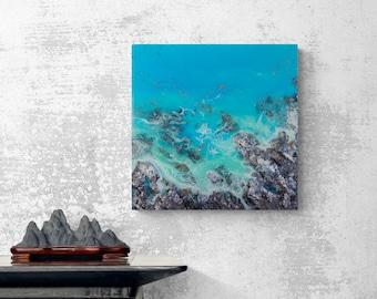 "Ocean Resin Art | ""Winter Blue"" | Coastal Wall Decor | Original Resin Beach Painting"