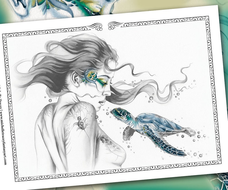 GRAYSCALE COLORING PAGE 'Sea Turtle Totem' (Package) - Fantasy, Sea Turtle, Animal, Digital Stamp, Greyscale Colouring For Adults, Art, pdf