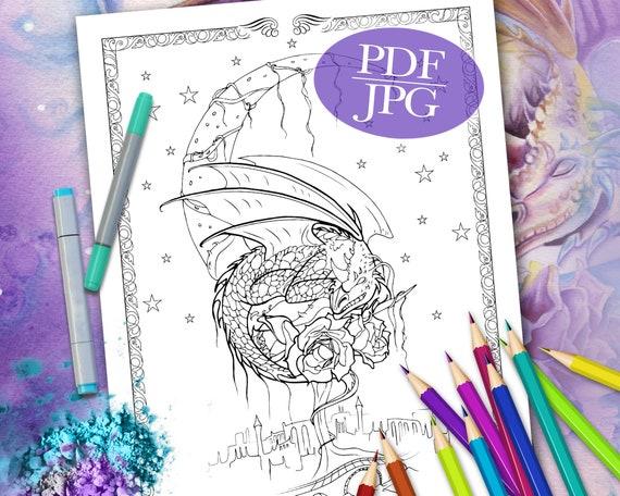 DRAGON COLORING PAGE 'Dragon Dreams' Fantasy Etsy