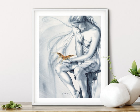 ORIGINAL WATERCOLOUR PAINTING -'Friendship' Fantasy, Fairy, Butterflies, Beautiful, Wall Art, Art Collectibles