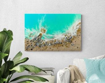 "Ocean Resin Art | ""Coastline Spirit"" With Real Sand, Seashells And Crystals."