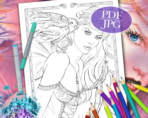 FAIRY COLORING PAGE \'Into The Night\' - Fantasy, Fairies, Owl, Feathers,  Coloring Pages for Adults, Printable, pdf, jpg