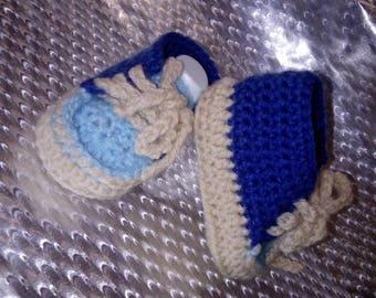 Handmade crochet baby booties