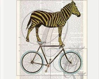 ZEBRA ART Print,bike art prints,dictionary art print,nursery wall art,kids room decor,bicycle art prints,animal art,bicycle art print no. 16