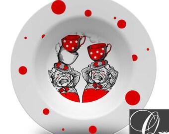 Alice in Wonderland Bowl,Tweedledee and Tweedledum,melamine bowl,melamine dinnerware sets,red and white,tea party decor,dish sets #b29