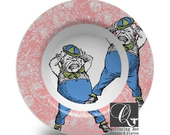 Tweedledee and Tweedledum Bowls,Alice in Wonderland,melamine bowl,melamine dinnerware,dinnerware sets,dish sets,tea party dishes,gift #b332