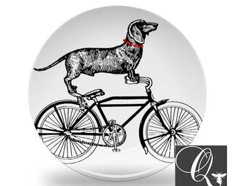 Wiener Dog Plate,bike plate,dachshund dishes,melamine plates,dog dinnerware,bicycle art plates,kitchen wall art,wiener dog dinner plate #14