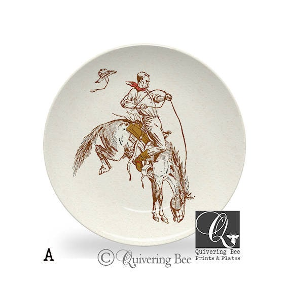 Cowboy Dinner Plate,rodeo cowboy plate,bucking bronco plates,western kitchen decor,horse art dishes,microwave safe,ThermoSāf® plates #910