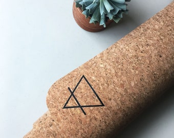 Non-Slip Cork Yoga Mat - minimal earth design   great for all yoga + hot yoga, meditation, pilates   all natural + sustainably sourced