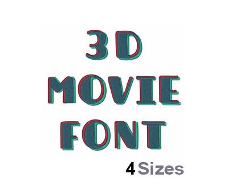 3D Movie Font (4 Sizes) - Machine Embroidery Font, Embroidery Design,  Embroidery Patterns, Embroidery Files, Instant Download