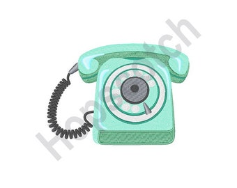 Rotary Dial Telephone - Machine Embroidery Design, Telephone, Phone