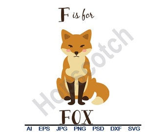 F For Fox - Svg, Dxf, Eps, Png, Jpg, Vector Art, Clipart, Cut File, Letter F, Fox