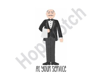 At Your Service - Machine Embroidery Design, Waiter