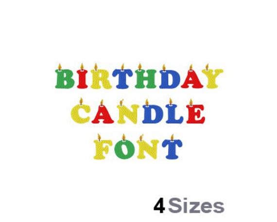 Geburtstag Kerze Schrift Maschine Stickmuster 4 Größen   Etsy