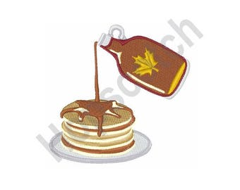 Pancakes & Syrup - Machine Embroidery Design - 4 X 4 Hoop, Breakfast, Home Cooking, Flapjacks, Hotcake