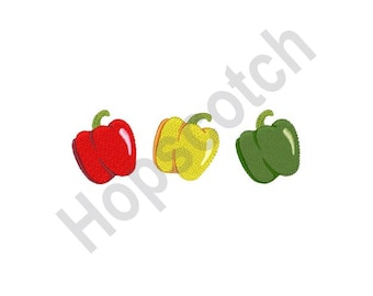 Bell Peppers - Machine Embroidery Design, Peppers