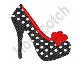 High Heel Polka Dot Shoe - Machine Embroidery Design
