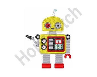 Yellow Robot - machine embroidery design