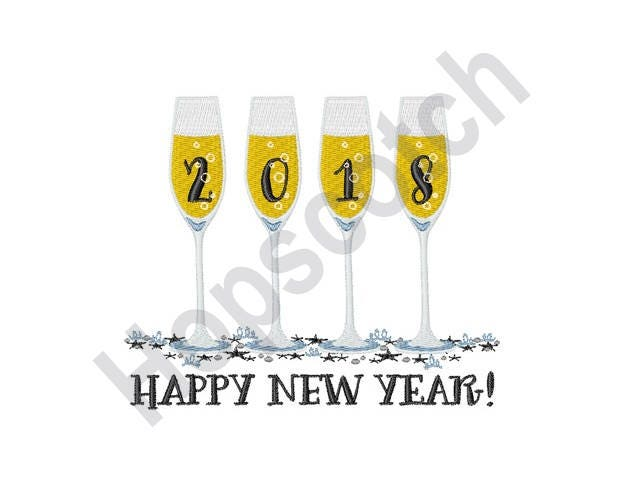 Happy 2018 Machine Embroidery Design 5 X 7 Hoop Saying | Etsy
