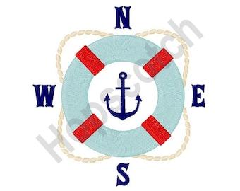 Lifesaver Compass - Machine Embroidery Design, Life Preserver, Compass, Anchor