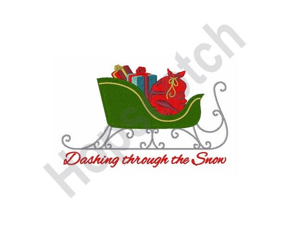 Dashing Through Snow Machine Embroidery Embroidery Designs Etsy