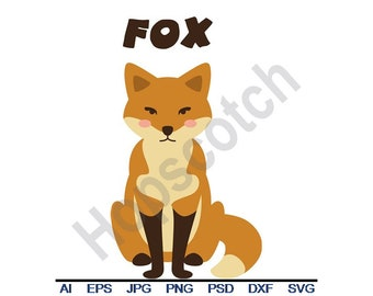 Fox - Svg, Dxf, Eps, Png, Jpg, Vector Art, Clipart, Cut File