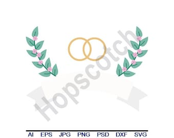 Wedding Rings - Svg, Dxf, Eps, Png, Jpg, Vector Art, Clipart, Cut File
