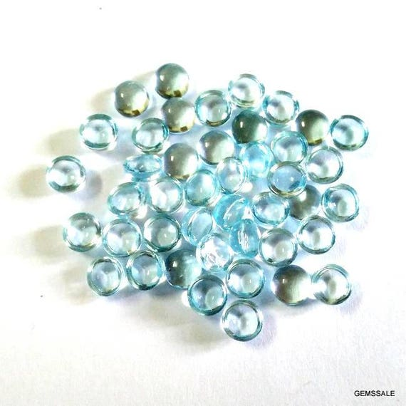 AAA Quality Gemstone 10 pieces 3mm London Blue Topaz Cabochon Round Cabochon