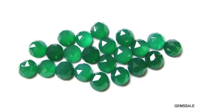 Green Onyx Cabochon RoseCut Faceted Round Green Onyx Round Rose Cut cabochon Gemstone 100 pieces 4mm Green Onyx RoseCut Round Gemstone