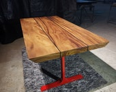Straight Cut Dining Table with Stainless Steel Metal Legs | Acacia Wood Table, Reclaimed Wood Table, Live Edge Farmhouse Dining Table