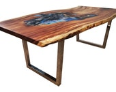 Acacia Wood Live Edge Dining / Conference Table in Rustic – Monkey Pod Slabs