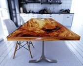 Straight Cut Dining Table, Acacia Wood Table, Epoxy Resin Table | Reclaimed Wood Table, Farmhouse Dining Table, Natural Wood Furniture