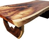 """Acacia Wood Dining Table With Hollow Log Slice Legs 10 ft x 50"""""""
