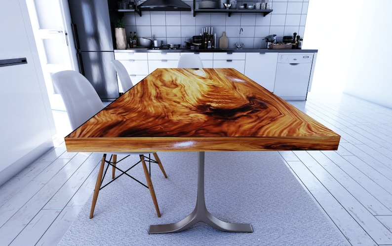 Straight Cut Dining Table Acacia Wood Table Epoxy Resin image 0
