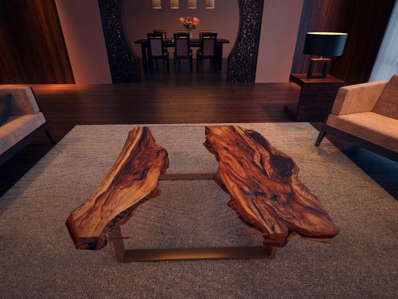 Live Edge Coffee Table Acacia Wood Table Epoxy Resin Table  image 0