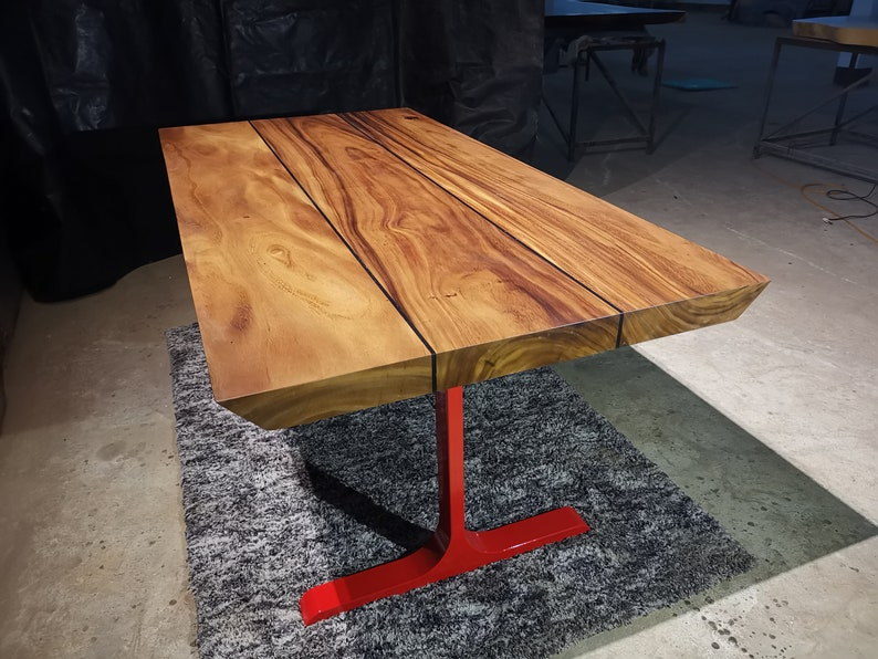 Straight Cut Dining Table with Stainless Steel Metal Legs  image 0